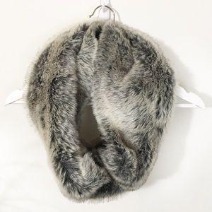 Garnet Hill Faux Fur Wool Lined Infinity Scarf